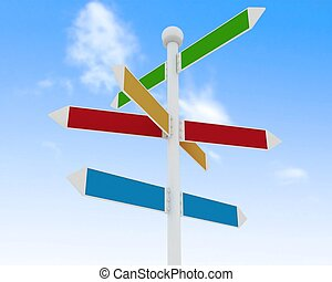 Direction road signs on blue sky  background