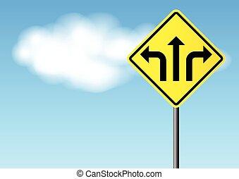 direction, rue, flèches, signe jaune