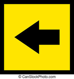 Direction sign black on yellow to the left