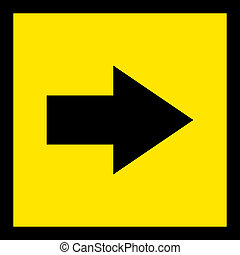 Direction sign black on yellow to the right