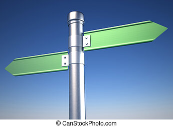 Blank directional sign showing oposite ways - 3d render