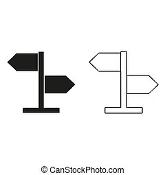 direction sign - green vector icon