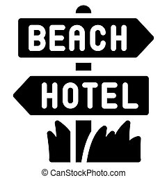 Direction sign icon, Summer vacation related vector