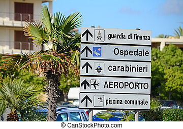 direction sign in Italy - direction sign in an italian city