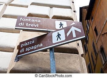 Direction signal in Rome - Address signal from the Trevi...