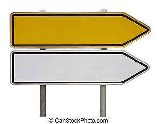 a yellow and a white blank direction sign post isolated on white