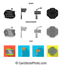 Direction signs and other web icon in black, flat, monochrome style. Road junctions and signs icons in set collection.