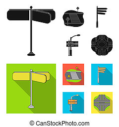 Direction signs and other web icon in black, flat style. Road junctions and signs icons in set collection.