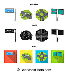 Direction signs and other web icon in cartoon, black, flat style. Road junctions and signs icons in set collection.