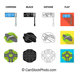 Direction signs and other web icon in cartoon, black, outline, flat style. Road junctions and signs icons in set collection.