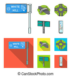 Direction signs and other web icon in cartoon, flat style. Road junctions and signs icons in set collection.