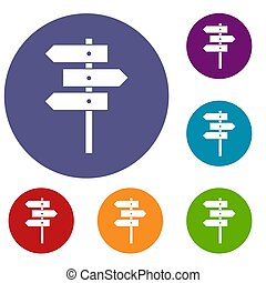 Direction signs icons set in flat circle reb, blue and green...
