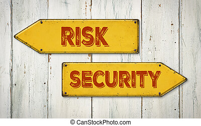 Direction signs on a wooden wall - Risk or Security