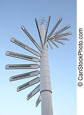Direction signs showing various destinations near Birmingham, England
