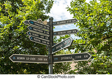 Direction Signs To Europe Cities