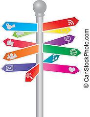Direction Social Media Signs Illustration - Direction Signs...