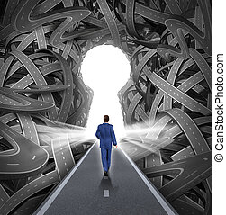 Direction solutions as a business leadership concept with a businessman walking to a glowing key hole shape opening as a straight path to success choosing the right strategic path cutting through a confused maze of tangled roads and highways.