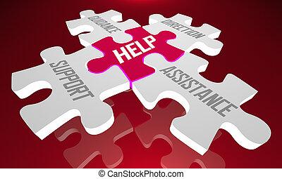 direction, soutien, aide, puzzle, illustration, assistance, direction, morceaux, 3d