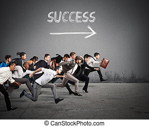 Direction success in business - Business people run together...