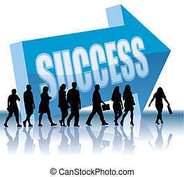 People are going to a direction - Success, vector illustration.
