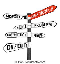 Direction to breakthrough - Crossroads sign with several ...