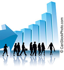 People are going to a large graph, vector illustration