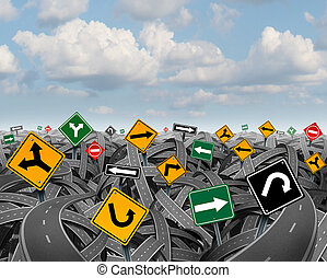 Direction uncertainty with a landscape of confused tangled roads and highways and a group of traffic signs competing for influence as a symbol of the challenges of planning a strategy for success.