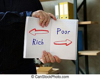 Direction Way to  Rich versus Poor  contrast concept