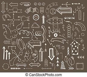 direction., web, schets, oriëntering, iconen, eenvoudig, doodle, pijl, uploaden, illustratie, hand, toepassing, ontwerp, navigatie, richtingwijzer, getrokken, cirkel, redo, style., vorig