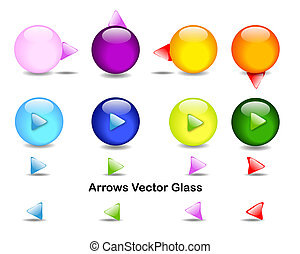 Directional arrows with colored spheres, in vector