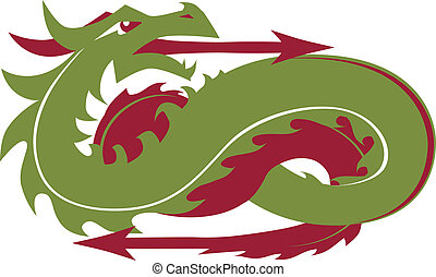 Directional Dragon - A green dragon with arrows pointing...