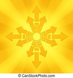 Directional - Illuminated Orange 3d Arrows, isolated
