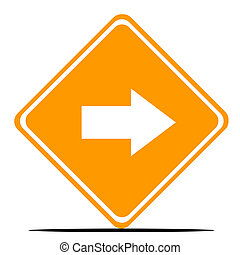 Directional road sign - Pointing arrow directional road sign...