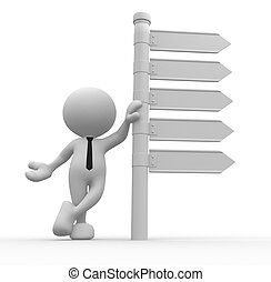 Directional sign - 3d people - man, person with blank...