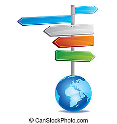 directional sign and earth - vector illustration of road...
