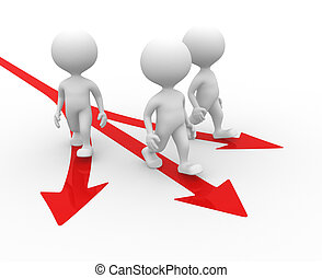 Directional sign. Arrow - 3d people - man, person and...