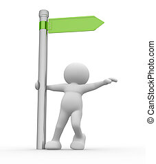 Directional Sign - 3d people character and directional sign...