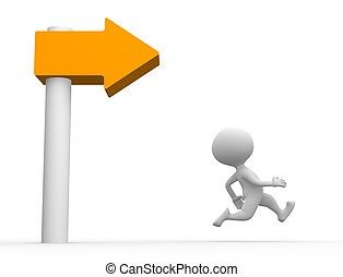 Directional sign - 3d people - man, person running and...