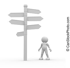 Directional sign - 3d people - man, person standing in front...