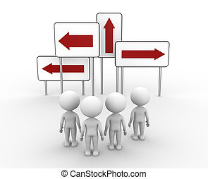 Directional sign - 3d people - men, person and directional...