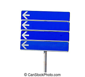 directional sign on white