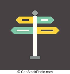 directional sign post icon, flat design
