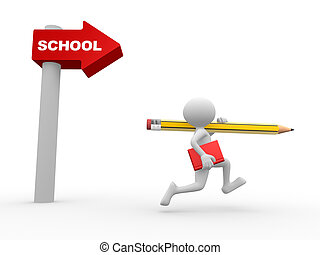 Directional sign. School - 3d people - man, person with...