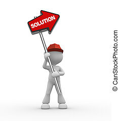 Directional sign - 3d people - man, person with directional...