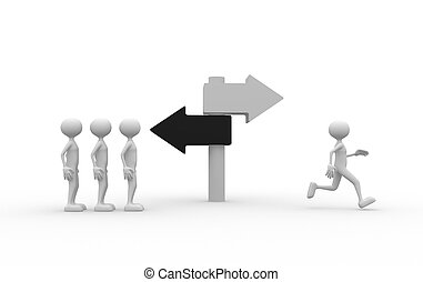 Directional sign - 3d people - man, person and differently...