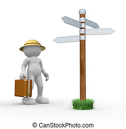 Directional sign - 3d people- human character with briefcase...