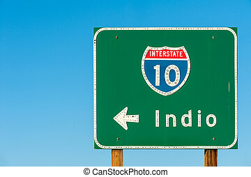 Directional sign to Indio, California