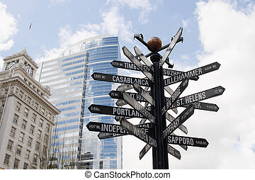 Directional Signpost to World Landmarks in Downtown Portland...