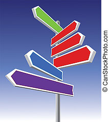 Signs pointing different directions and colors