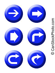 Directional traffic buttons - Set of six blue directional...